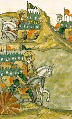 Александр выводит русские войска на Чудское озеро. Летописная миниатюра