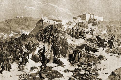 Штурм Карса в 1877 г. С картины художника Ф. Рубо